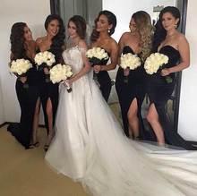 2017 Elegant Black Bridesmaid Dress New Arrival Mermaid Sweetheart Split Satin Long Cheap Bridesmaid Dresses