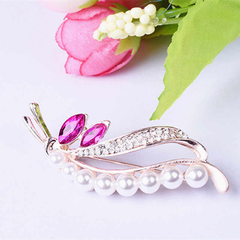New Trendy brooch Female crystal corsage Men 's Rhinestones branches leaves brooches pins jewelry accessories scarf deduction
