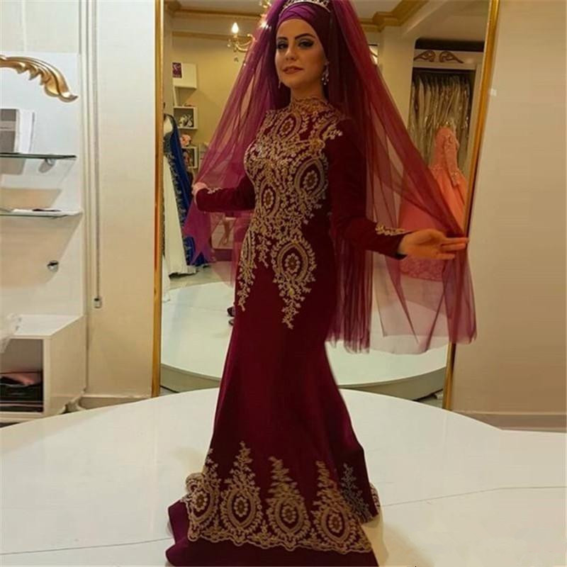 Burgundy Muslim   Evening     Dresses   2019 Mermaid Long Sleeves Chiffon Appliques Islamic Dubai Saudi Arabic Long   Evening   Gown Prom