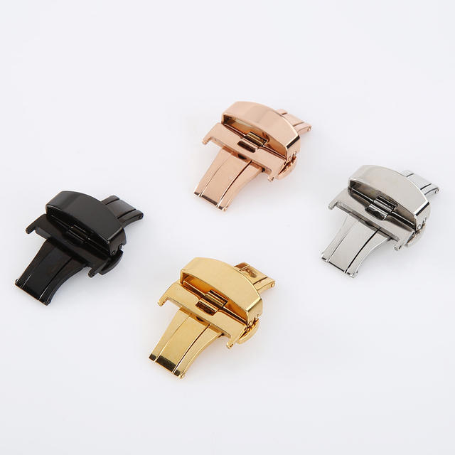 Butterfly Deployment Buckle Automatic Double Click Stainless Steel Clasp Strap For Watch Band 16mm 20mm 22mm watchband Clasp