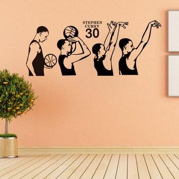 basketball superstar Stephen Curry shooting action vinyl wall decal home decor living room bedroom art wallpaper wall sticker