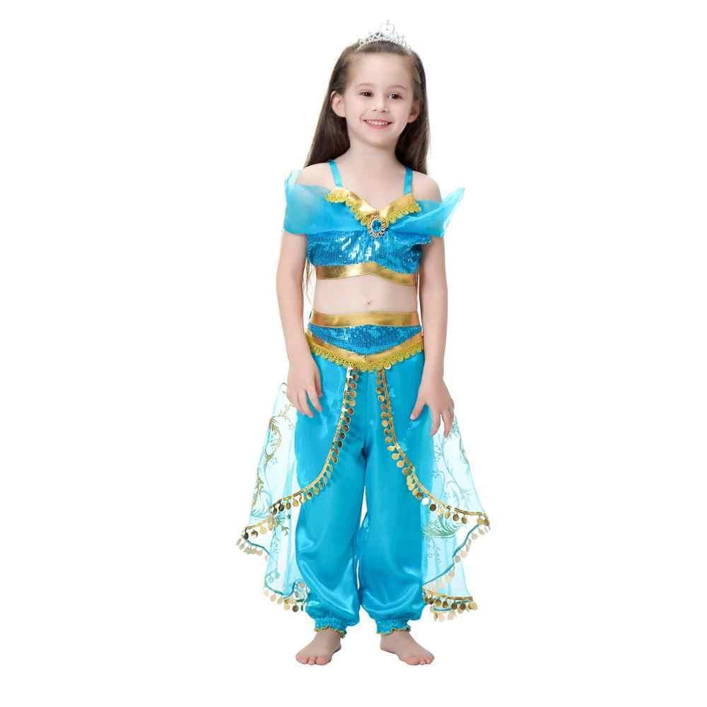 Hallowen בנות שמלת יסמין תלבושות אלדין קוספליי שמלת סט למעלה חצאית צפצף 3 יח'\סט נסיכת שמלת הילדה ליל כל הקדושים תלבושות