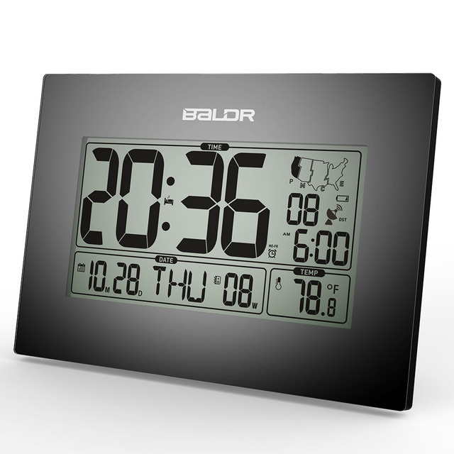 Baldr Stylish Modern Office Tabletop Clock Wwvb Atomic Pmce Time Zone Clocks Calendar And