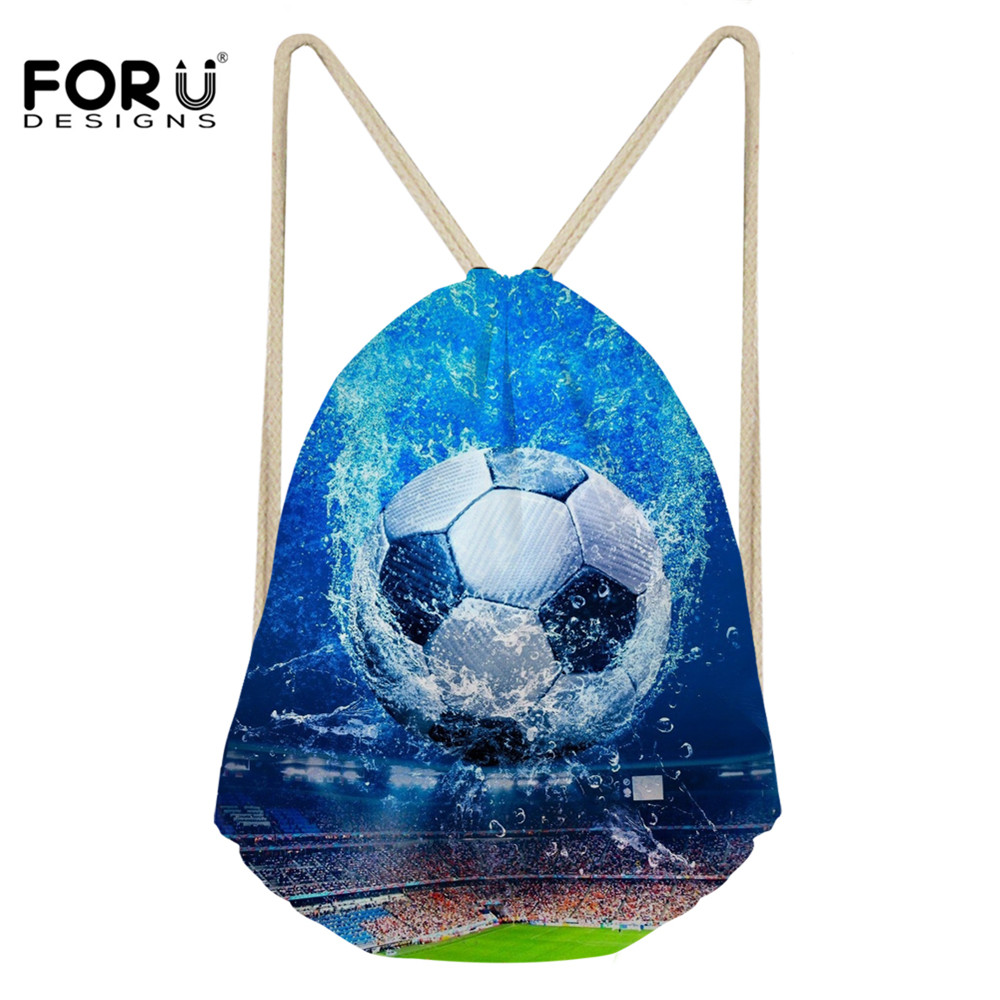 FORUDESIGNS New Small Drawstring Bag 3D Soccer Football Pattern Storage Shoulder Bags For Boys Girls String Cinch Backpacks Bags