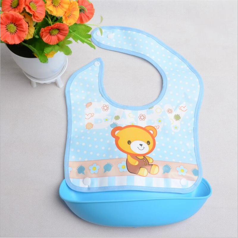 WO/_ Baby Feeding Rice Bib Silicone Children Waterproof Saliva Towel for Kids Sal