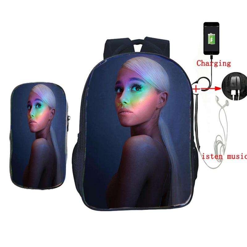 Ariana Grande 2 Pcs/set Backpack For Teenagers USB Charging Back To School Gift Mochila Boys Girls Students Book Bags