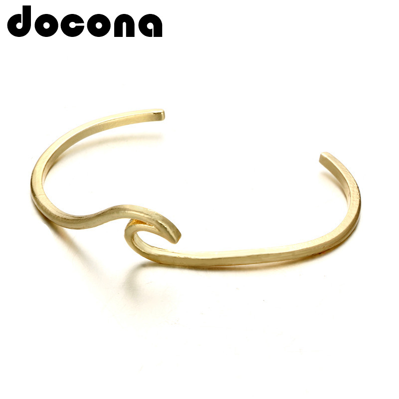 docona Bohemian Wave Bracelet Bangle for Women Girl Gold Color Metal Ocean Surfer Bracelets Statement Jewelry Pulseiras 4993