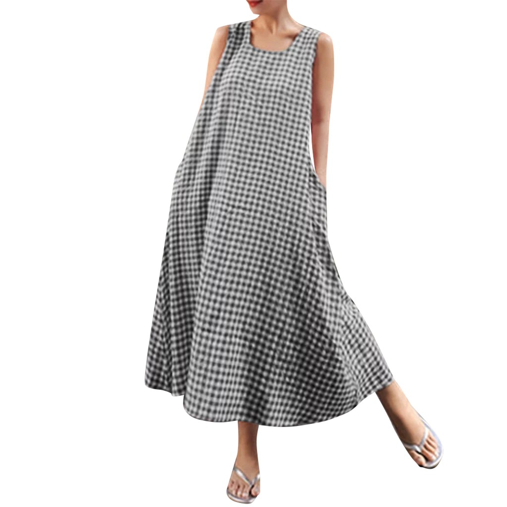 Women's Clothing Womail Dress Fashion New Women Long Dress Big Code Girl Pure Color Linen Sleeve Simple And Versatile Dresses Dropship Apr10