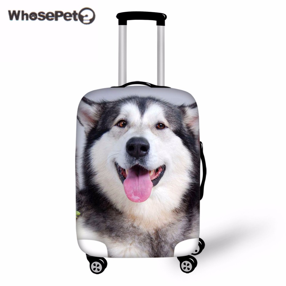 WHOSEPET Cute Husky Travel Luggage Protective Cover Kawaii Women Suitcase Anti Dust Covers Fashion Travel Anti