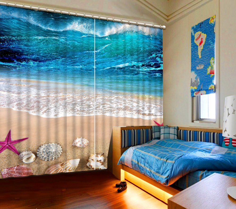 Mondern Style Beach Bedding Room 3d Curtains 3d Window Curtains For Bedding  Room 3d Curtain(