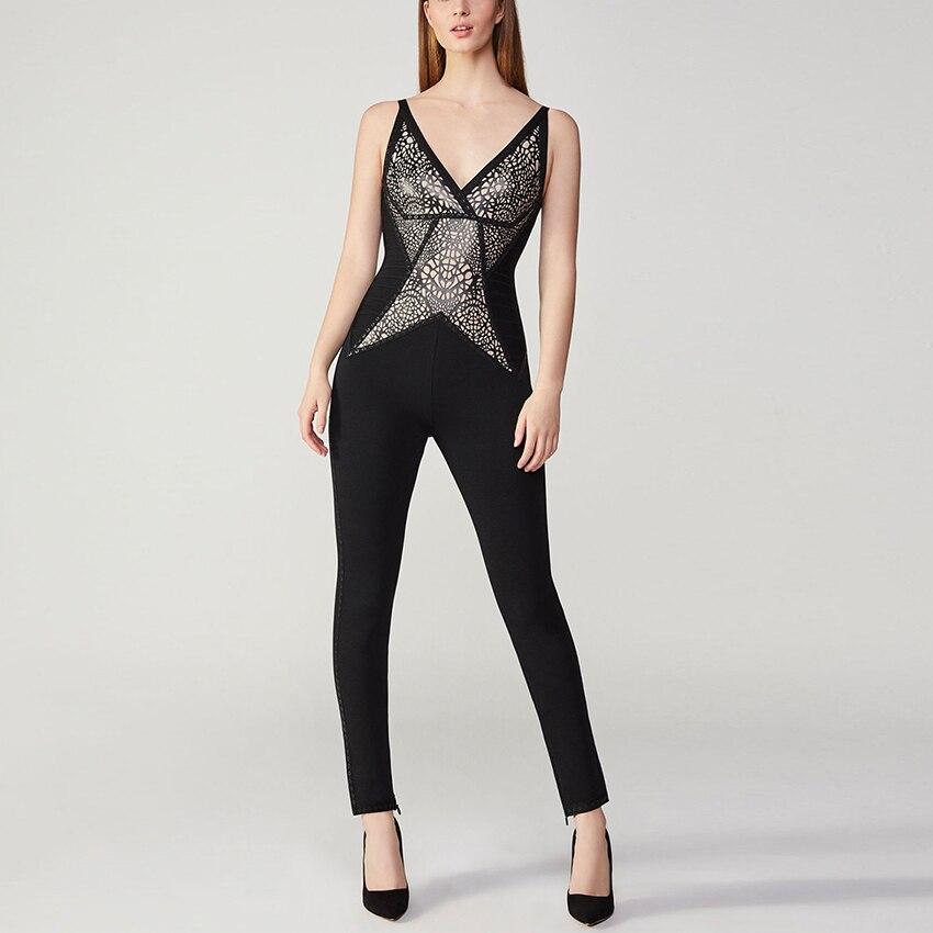 Mode en gros Nova Clubwear sortie de soirée Premium Lady sortie sortie noir Skinny col en V Sexy femmes fête Bandage combinaisons