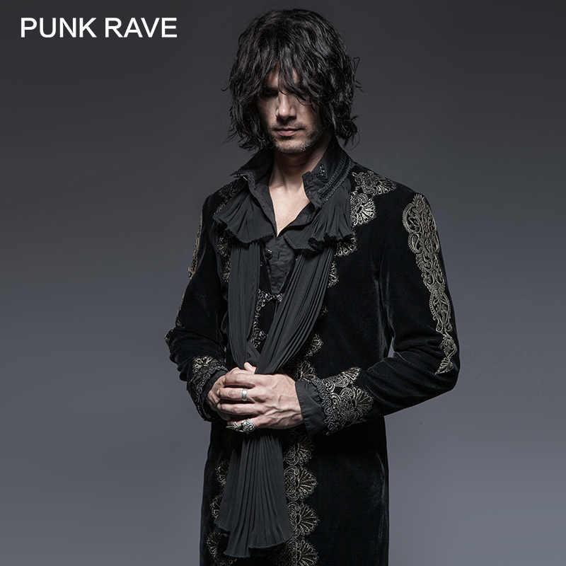 43ea57682 PUNK RAVE Gothic Aesthetic Embossed Retro Man Long Black Coat Black Velvet  Gold Embroidery Jacket Trench Halloween Costume Party