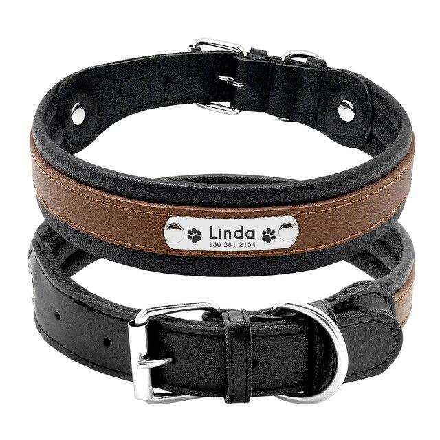 Grande Collare di Cane Genuino Collare di Cane di Cuoio Personalizzato Pet Nome ID Padded Collar Su Misura Per Medium Large Cani