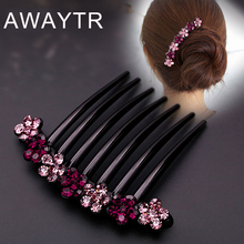 AWAYTR New Crystal Floral Hair Combs Headdress Prom Bridal Wedding Rhinestone Hair Accessories For Women Hair Jewelry Hair Pins