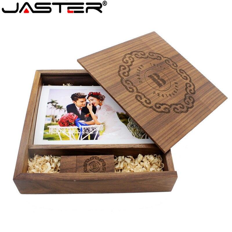 JASTER ahorn Holz Fotoalbum usb + Box usb-stick U festplatte Usb-Stick 64GB 16GB 32GB freies LOGO für fotografie Hochzeit geschenk