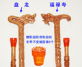 Filial piety elderly A mahogany  cane old leading phoenix head wood carving craft dragon    stick can