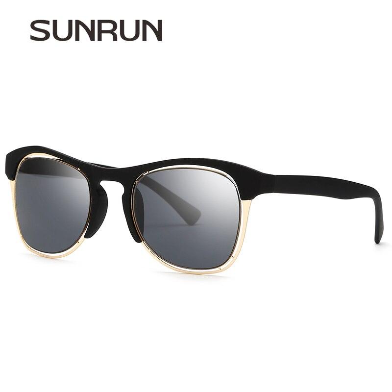 SUNRUN Marca Designer Revestimento Óculos Espelho óculos de Sol Sem Aro  Semi Metade Quadro Óculos De Sol Dos Homens Do Vintage de Alta Qualidade  para Os ... 22d00ec21b