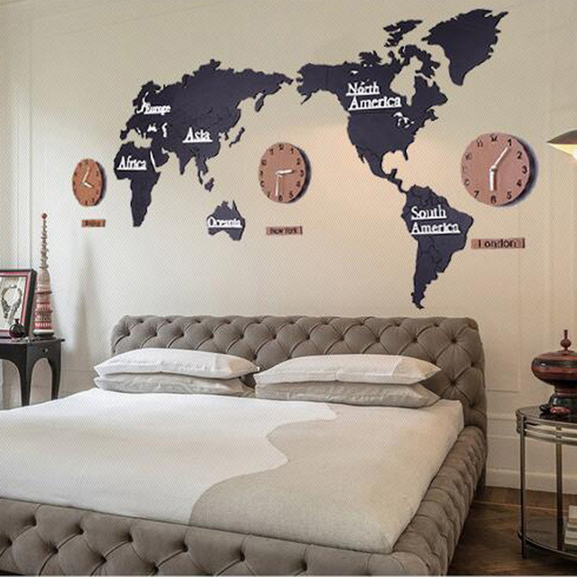 Msparkling creative 3d wooden wall clock world map large size wall msparkling creative 3d wooden wall clock world map large size wall sticker clock modern gumiabroncs Gallery