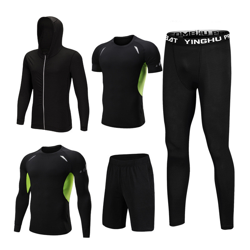 5PCS Set Men's Compression GYM Tights Sports Sportswear Suits Training Clothes Suits Workout Jogging Clothing Tracksuit Sports