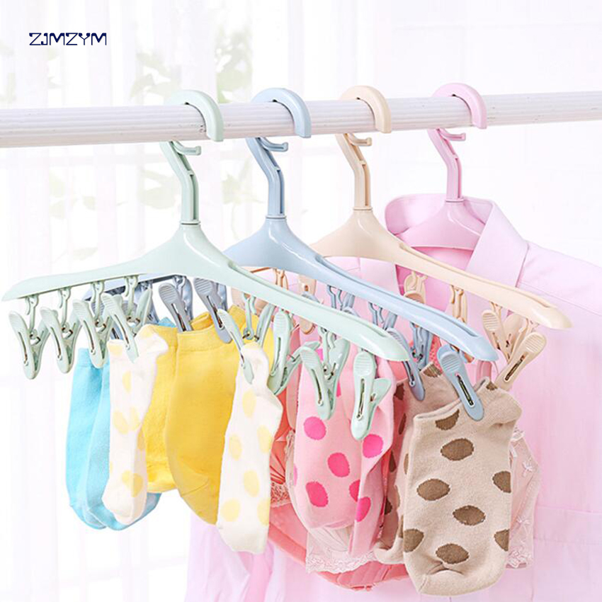 2018 New Clothes Pegs 8 Clips Plastic Hangers Underwear Socks Bra Dryer Hook Rack Clothes Hanging Dry