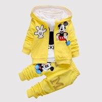 2016 Autumn Baby Clothing Girl Kids Dot Minnie Mickey Girls Clothes T Shirt Coat Pants 3