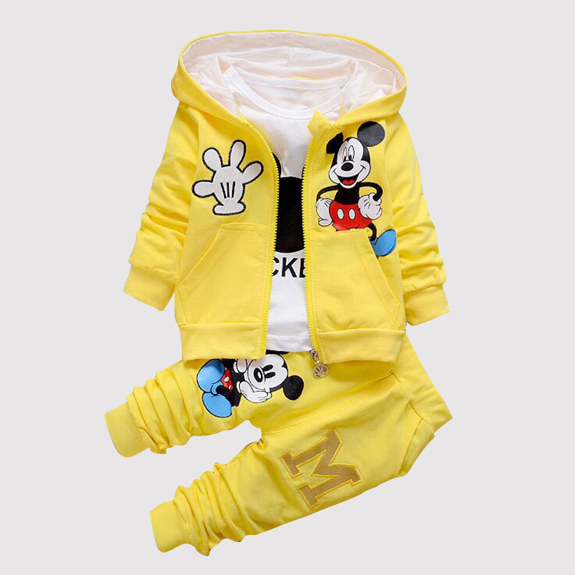 2018 Autumn baby clothing girl / boys kids minnie mickey girls boys clothes t-shirt+coat+pants 3 suit Girls Boys clothing sets