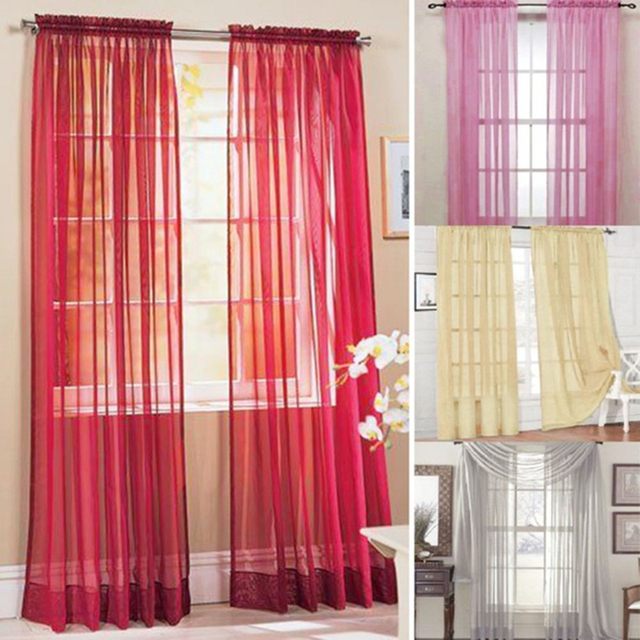 Tulle Window Screening Voile Curtains Living Room Blinds Sheer Voile ...