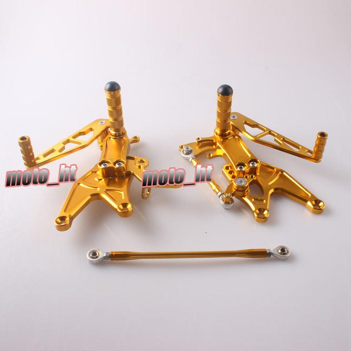 Arashi CNC Rearset Foot Pegs For Yamaha YZF R1 2004 2005 2006 Gold Adjustable Aluminum Alloy