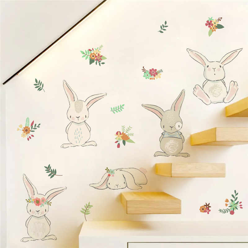 Jungle rabbit floral wall sticker for kids rooms decal bedroom living room mural 3d window home decor