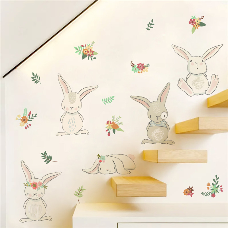 Rabbit Flower Wall Sticker For Kids Rooms Wall Decal Bedroom Living Room Mural 3d Window Poster