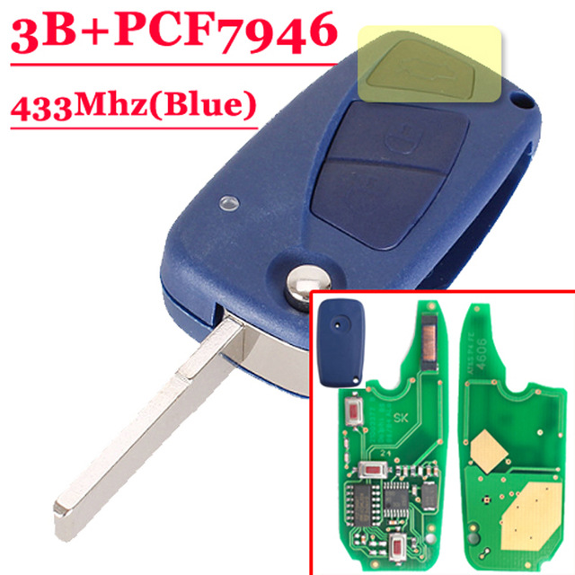 Free shipping (1piece)3 Buttons Flip Remote key 433mHZ pcf 7946 chip For F-IAT Punto Ducato blue Colour 1piece 3 button flip remote key 433mhz for fiat 500 panda punto bravo key with pcf7946 chip