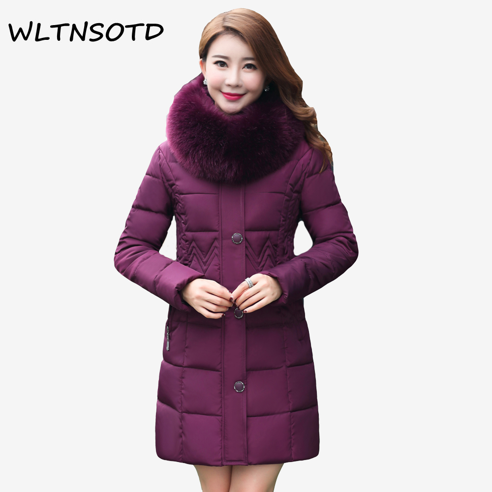 2017 winter new cotton coat women long Hooded Big Fur collar Slim warm jacket Female fashion Solid Parkas 2017 winter new cotton coat women slim long hooded thick jacket female fashion warm big fur collar solid hem bifurcation parkas