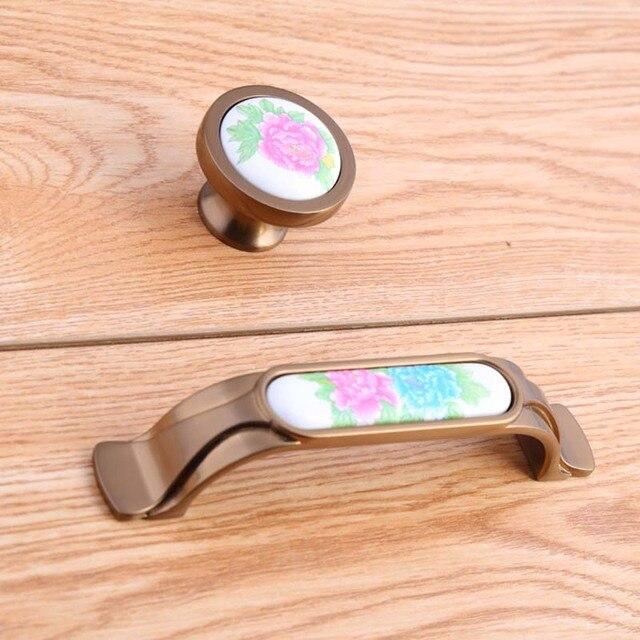96mm Weiß grün rosa blume keramikabrichter küchenschrank türgriffe ...
