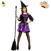 Women's Ghost Witch Costume Role Play Wizard Witch for Halloween Adult Witch Dress Costume