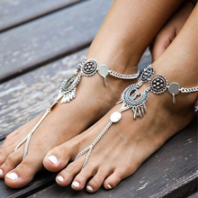 New Vintage Exaggerated Antique Silver Anklet Ankle Bracelet Foot Jewelry Coin Tassel Leg Chain For Women Beach Barefoot Sandals