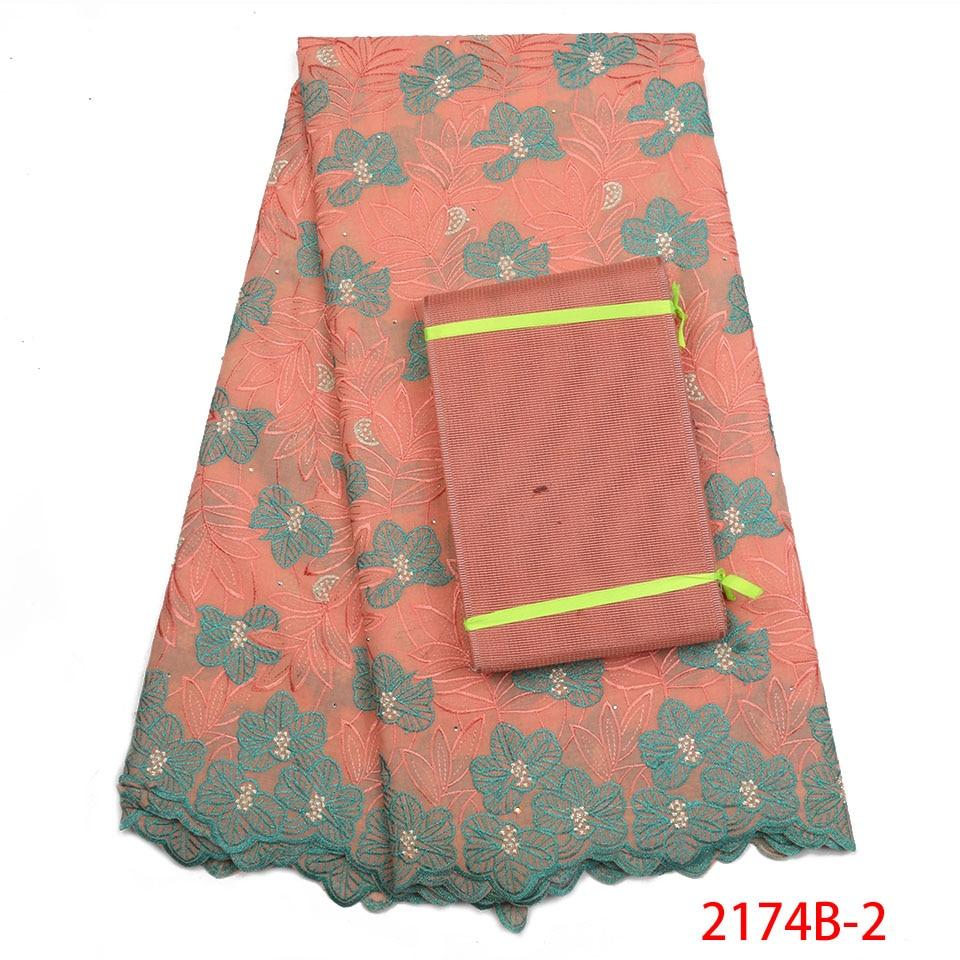 Coton Tissu 2019 qualité supérieure Brodé Garniture Pierres Suisse Voile tissu en dentelle aricaine Tissu Dentelle pour robe pour femme APW2174B