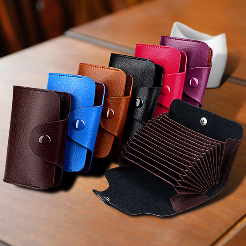 Genuine Leather Men Business Card Holder Wallet 15 Bits Card Case Bank Credit Card Case ID Holders Women Cardholder Porte Carte