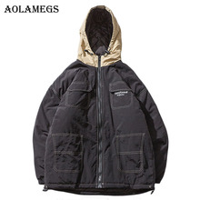 Aolamegs Parka Men Patchwork Hooded Thick Mens Winter Jackets Mens Down Jacket Couple Stand Collar Windproof Coat Mens Winter