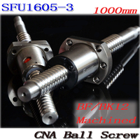 BallScrew SFU1605 3 1000mm Ball Screw C7 With 1605 Flange Single Ball Nut BK BF12 End