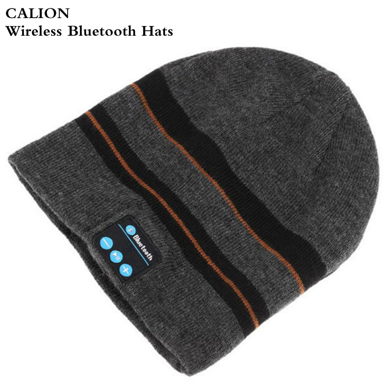 Stripe Wireless Bluetooth Earphone Headset Speaker Beanies Unisex Smart Clothing Winter Outdoor Sport Stereo Music Hat Headphone edt bluetooth music beanie hat soft warm cap with stereo headphone headset speaker