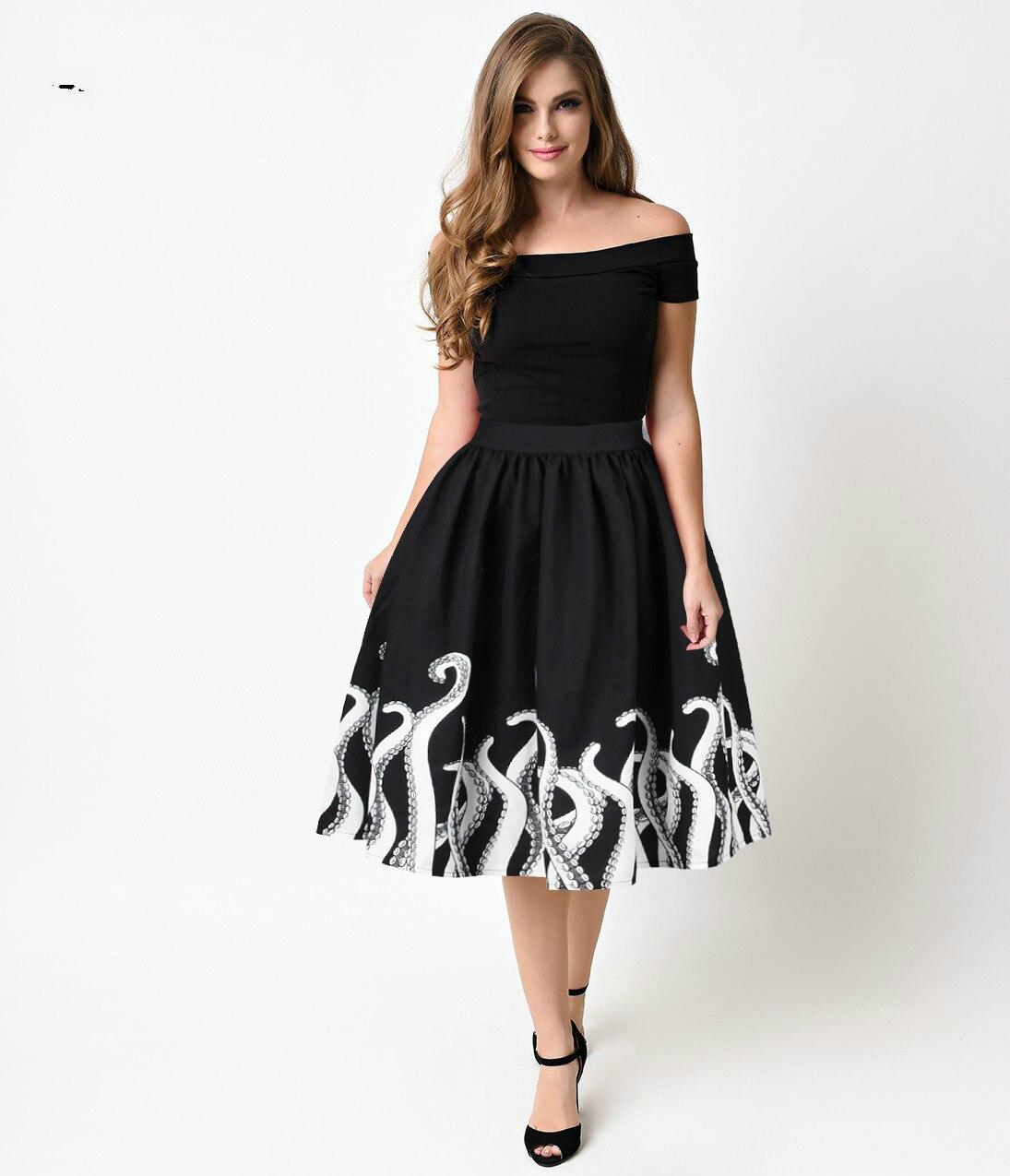 bee7854ed9 Negro Medio venta Verano Moda De Impresión Las 2019 midi damas Faldas  longitud Rápido Mujeres Ceciliayu dfq6XXn