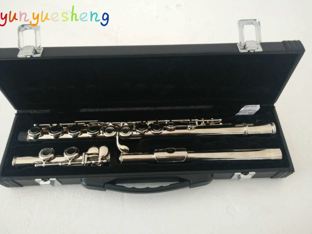 High quality flute equipped with high-grade flutes case,16 hole obturator E key nickel plated flute,C new flute 17 hole open silver plated key e key high quality ebony wood 5