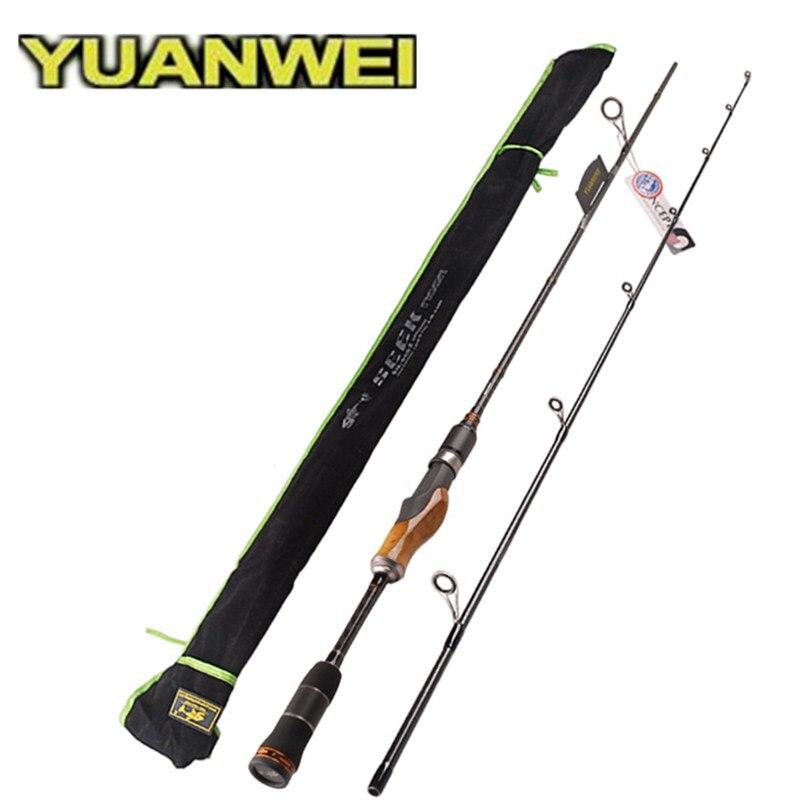 Yuanwei 2 secs madeira lidar com haste de fiação 1.98m 2.1 2.4 ml/m/mh varas pesca isca carbono vara pesca