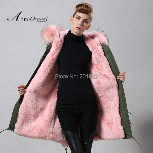Factory wholesale price Women's Vintage Retro Fur Hooded Military Parka Jacket Coat with pink lined and collar fur mr 6