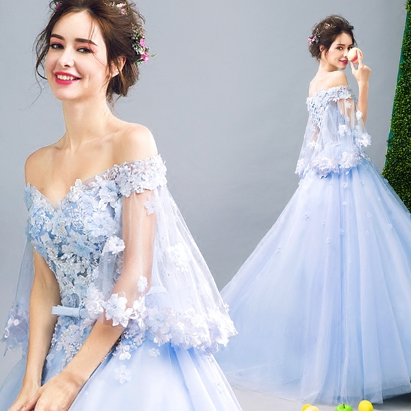 Ball Gowns Sky Blue Tulle Long Evening Dresses With Bell Sleeves 3D Floral Flower Off Shoulder Long Prom Dress Robe De Soiree