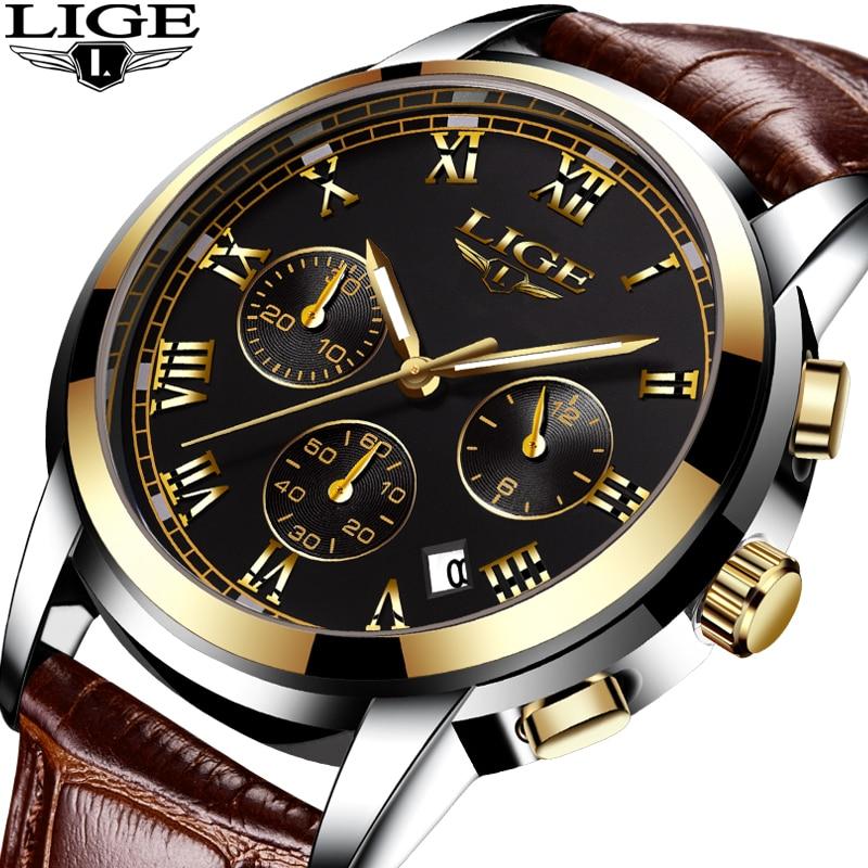 540d918787c Homens relógio Do Esporte de Quartzo Relógio de Couro De Moda LIGE Dos Homens  Relógios Top