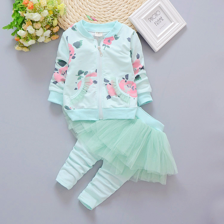 Spring Girls Clothing Sets 2017 New Baby Clothes Set Children Outfit Flower Print Sweatshirts Pants Sport Suit 2 pcs for 3 years 2016 fashion spring autumn girls suits brand designer flower children set sweatshirts coats jeans t girls 3 sets