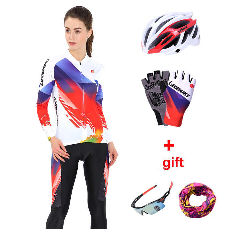 女性サイクリング服セット反射長袖レディースサイクリング Mtb バイク自転車服女性スポーツウェア