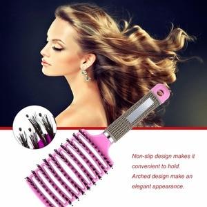 Image 2 - Women Female Hair Scalp Massage Comb Bristle&Nylon Hairbrush Wet Curly Detangle Hair Brush for Salon Hairdressing Styling Tools