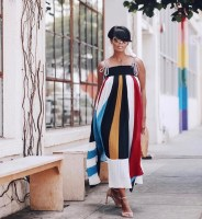 2019 Boho Colorful Rainbow Long Maxi Dress Sexy Sleeveless Striped Beach Dress Perspective Chiffon Sundress